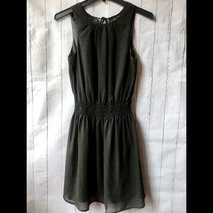Pretty Black Chiffon Fitted Waist Mini Dress